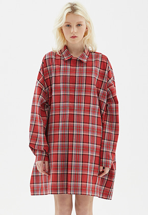 INDIGO CHILDREN인디고칠드런 OVERSIZED TUNIC LONG SHIRT [RED]