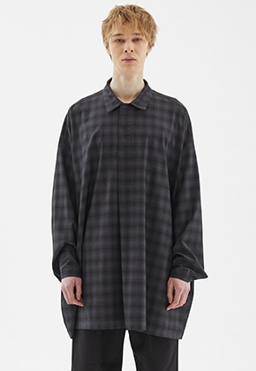 INDIGO CHILDREN인디고칠드런 OVERSIZED TUNIC LONG SHIRT [DARK GREY]