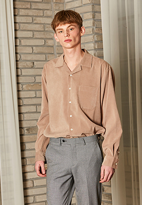Yan13얀써틴 FOMAL OPEN COLLAR SHIRTS_BEIGE