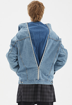 INDIGO CHILDREN인디고칠드런 OVERSIZED BACK ZIP DENIM JACKET [LIGHT BLUE]