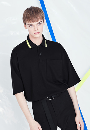 Voiebit브아빗 V327 LINE COLOR PIQUE SHIRT  BLACK
