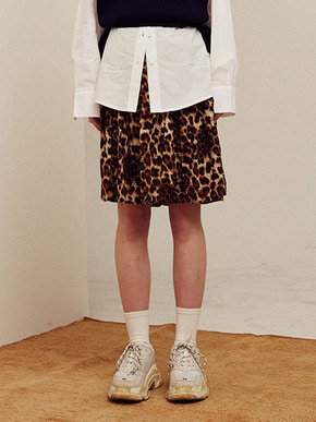 13Month써틴먼스 LEOPARD BANDING SKIRT (BROWN)