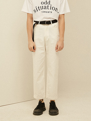 13Month써틴먼스 WIDE CROP COTTON PANTS (IVORY)