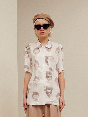 13Month써틴먼스 [3/26 예약배송] FACE PRINTING ALOHA SHIRT (WHITE)
