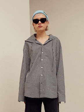13Month써틴먼스 [3/26 예약배송] GINGHAM CHECK HOOD SHIRT (BLACK)