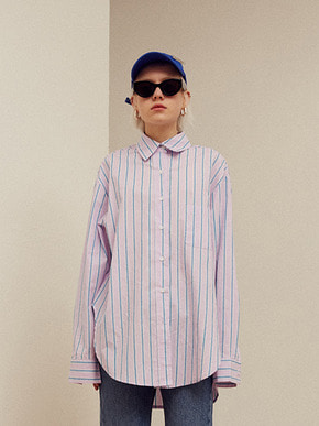 13Month써틴먼스 [3/23 예약배송] WAPPEN STRIPE LONG SHIRT (PINK)
