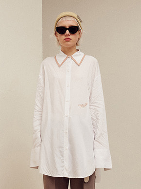 13Month써틴먼스 TAPING COLLAR LONG SHIRT (WHITE)