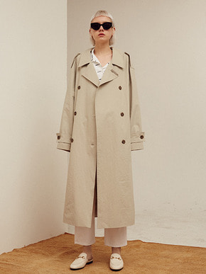 13Month써틴먼스 BACK OPEN LONG TRENCH COAT (GRAY)