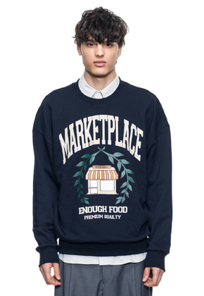 Reve De Agneau레브드앙뉴 OVERSIZE MARKETPLACE SWEATSHIRTS(NAVY)