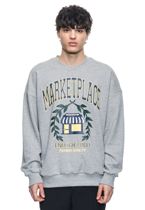 Reve De Agneau레브드앙뉴 OVERSIZE MARKETPLACE SWEATSHIRTS(GREY)