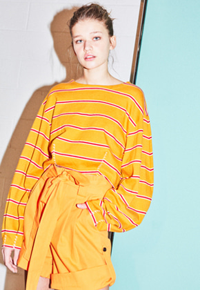 NOHANT노앙 LONG SLEEVE CURVED TOP MUSTARD