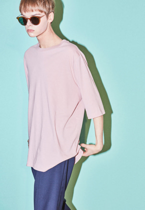 NOHANT노앙 CURVED T-SHIRT PINK