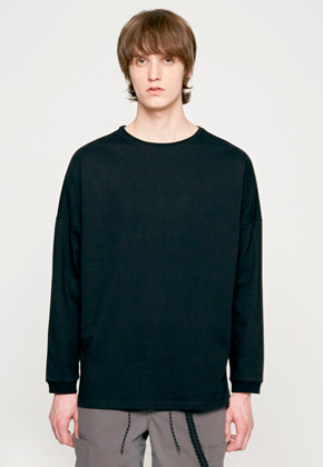 Insilence인사일런스 SOLID CREW NECK LONG SLEEVES black