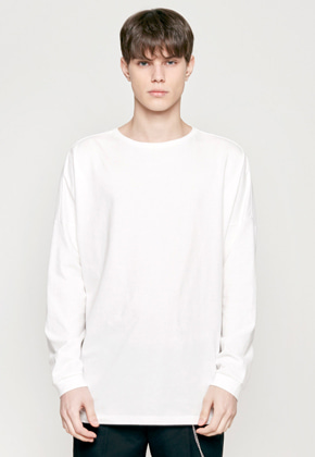 Insilence인사일런스 SOLID CREW NECK LONG SLEEVES white