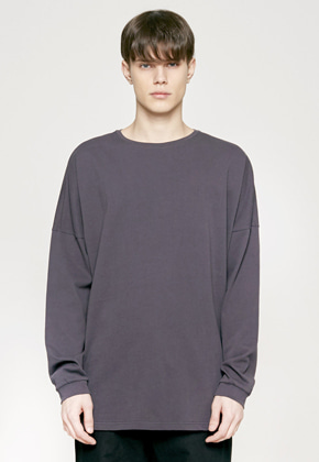 Insilence인사일런스 SOLID CREW NECK LONG SLEEVES charcole