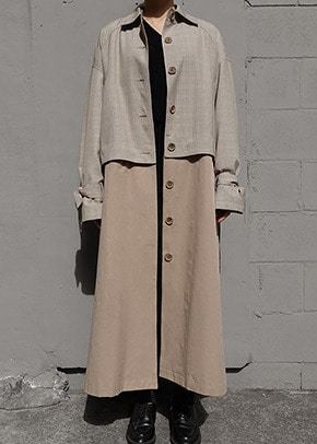 Ainsinov앙시노브 CHECK TRENCH COAT