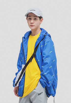 WKNDRS위캔더스 WAVY LOGO HOODED ZIP-UP (BLUE)