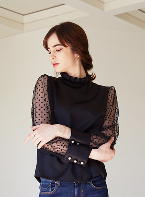 Mintaretro민타레트로 주문제작]Matilda Dot Seethrough Blouse