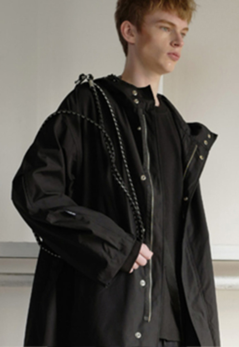 Choisi초이지 Cross Belt Rain Coat, Black