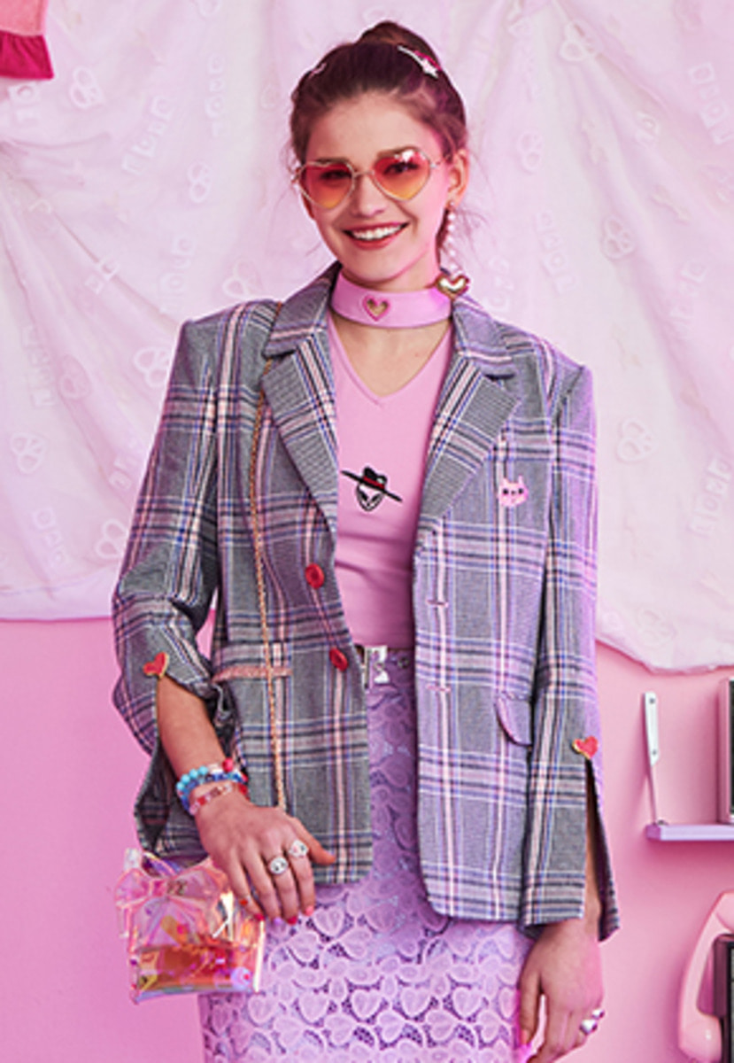 VVV브이브이브이 VVV ONE OF KIND PINK HEART CHECK NOAH JACKET