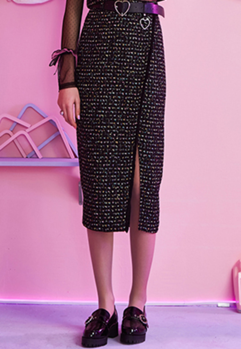 VVV브이브이브이 VVV BLACK TWEED WRAP SKIRT