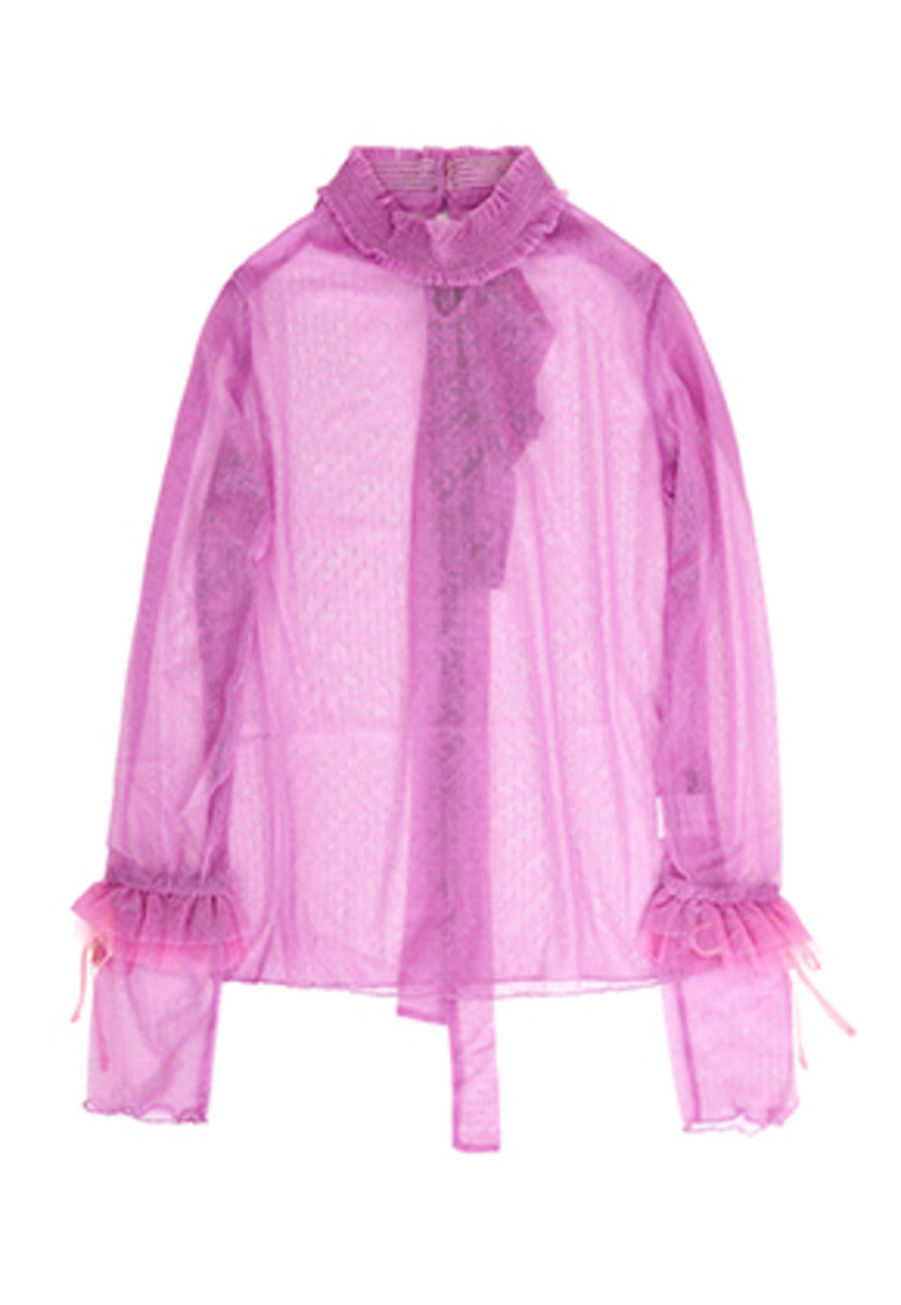 VVV브이브이브이 VVV LILAC PINK DOTS LACE RIBBON TOP