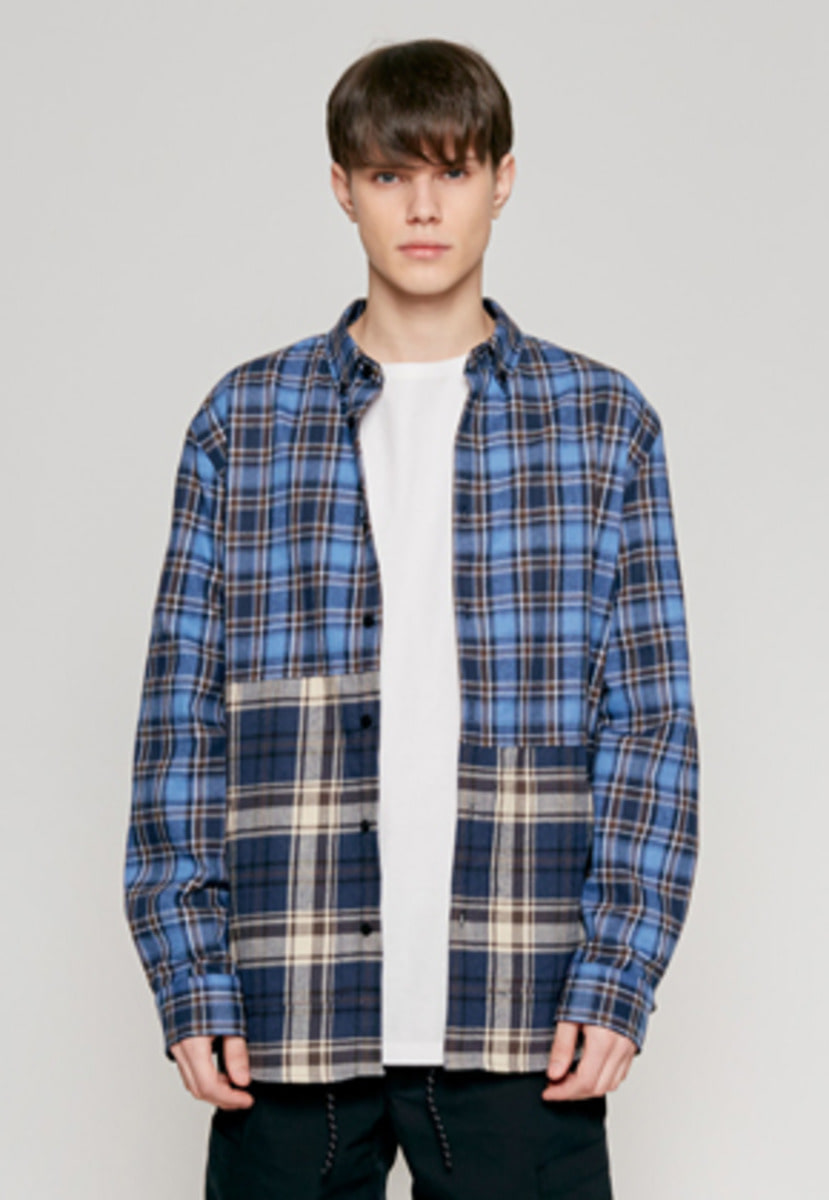 Insilence인사일런스 2 CUT POCKET SHIRT blue