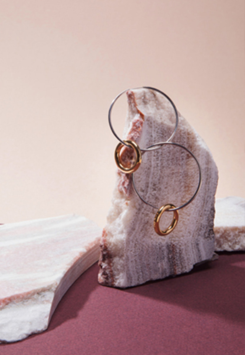 Anderssonbell앤더슨벨 ROUND LAYERED EARRINGS aaa067w SLIVER/GOLD