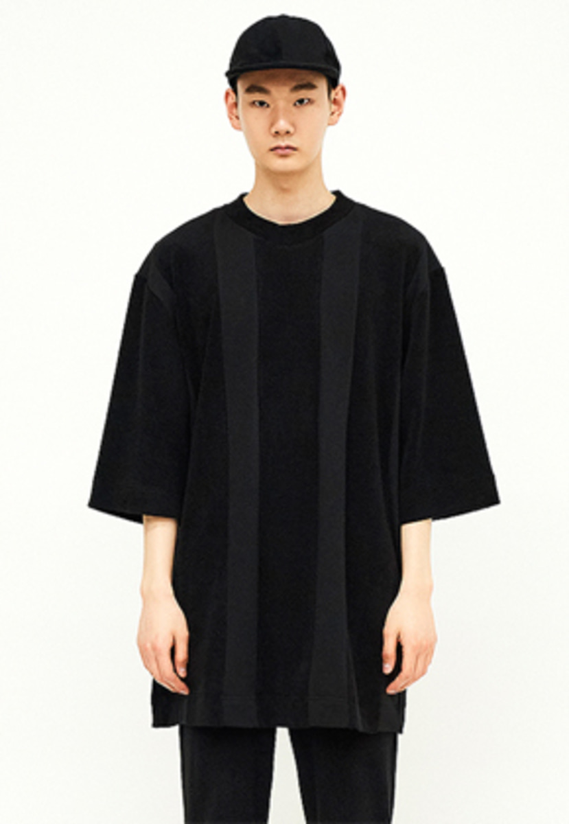 SEC세크 [Unisex] Texture-blocked Sweat T-shirt_B/B
