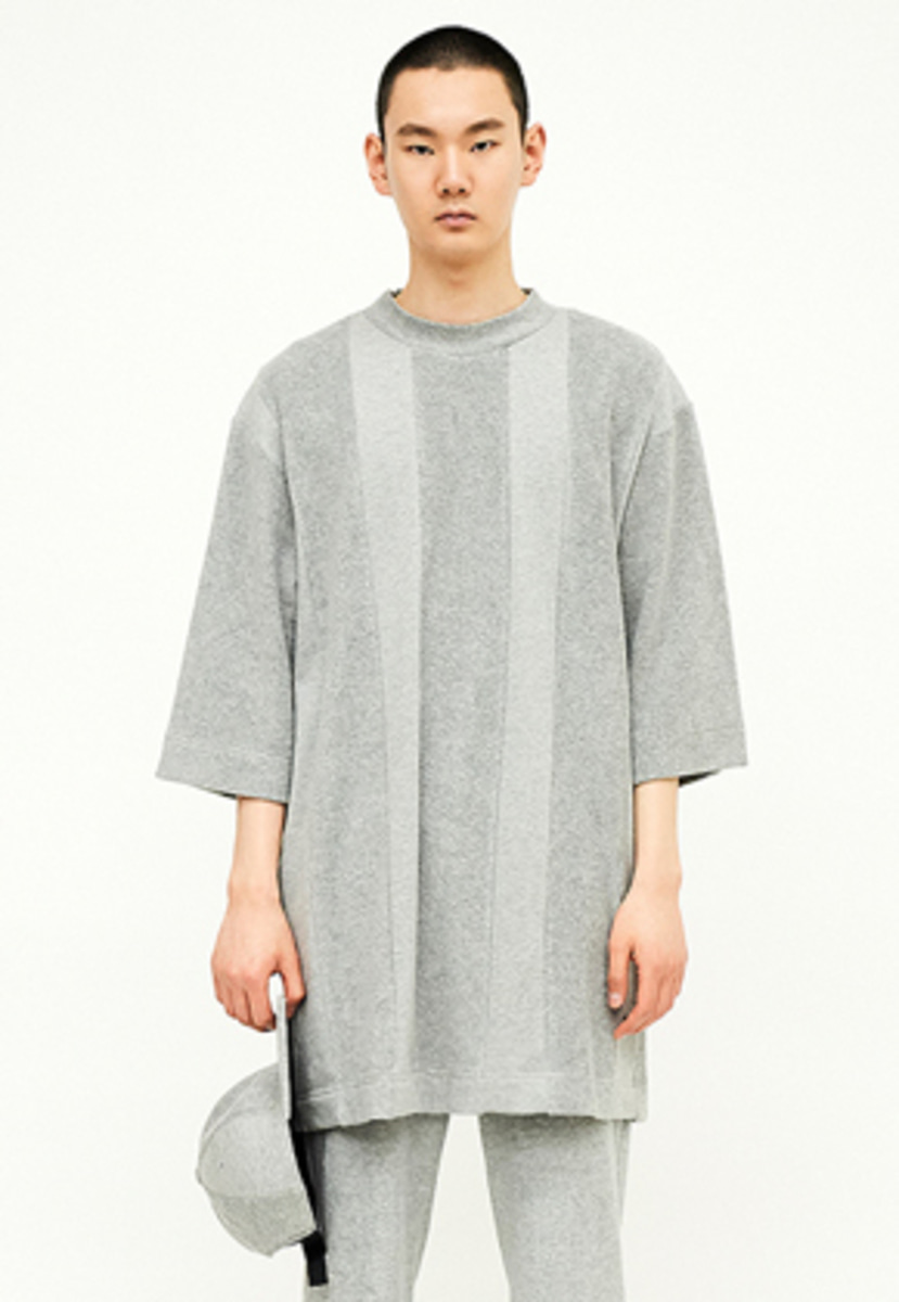 SEC세크 [Unisex] Texture-blocked Sweat T-shirt_G/G
