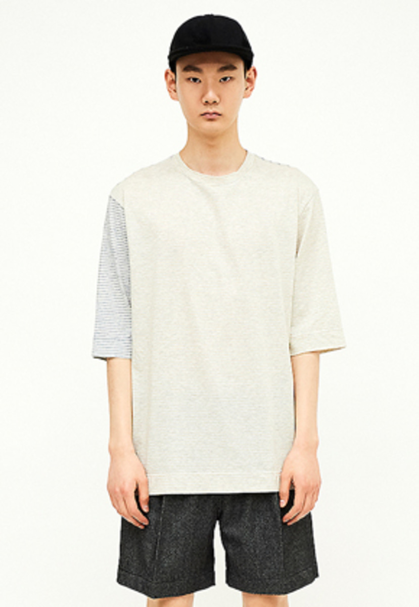 SEC세크 [Unisex] Contrast-striped T-shirt_Y/B