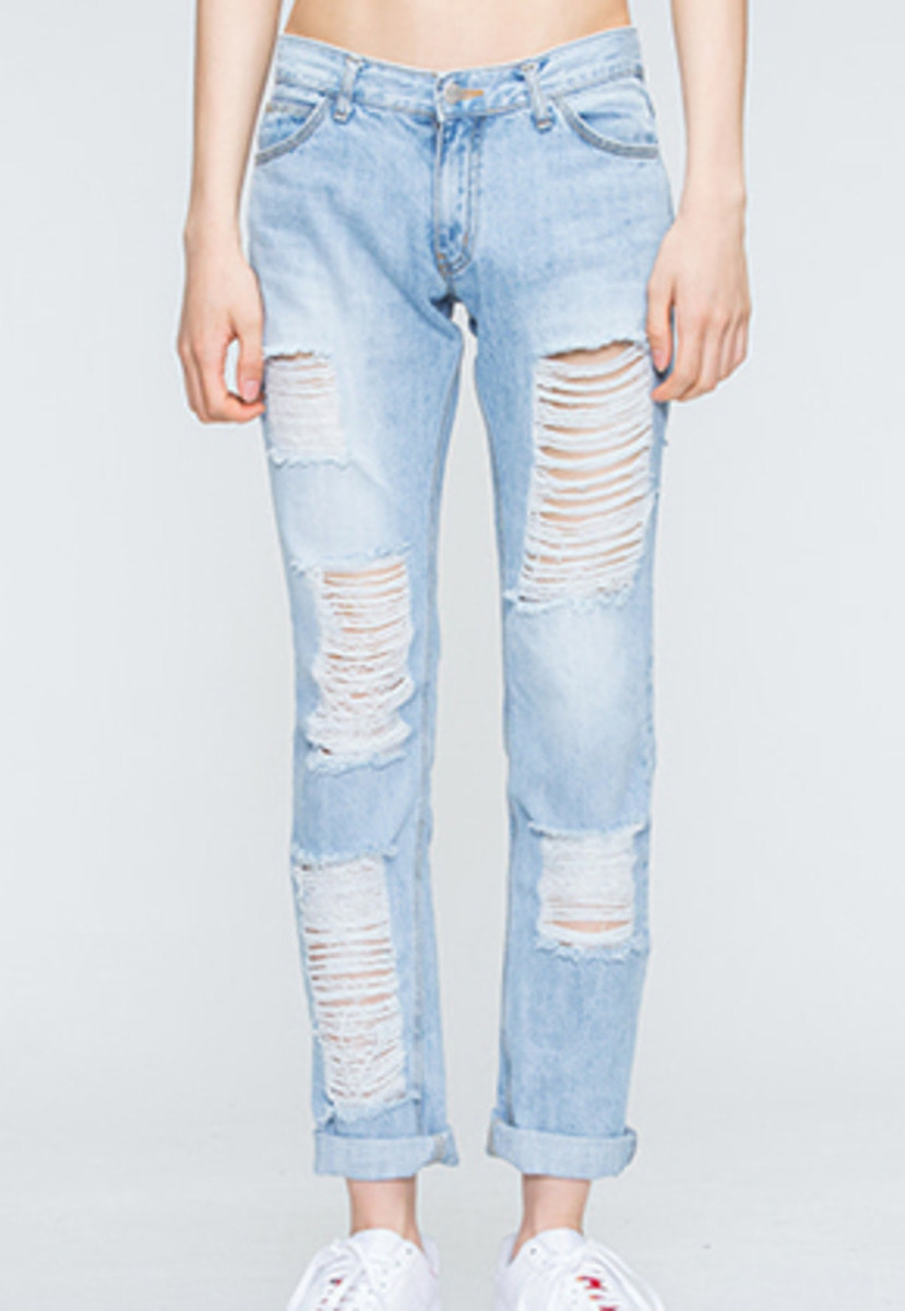 Romantic Crown로맨틱크라운 Light Blue Damage Pants
