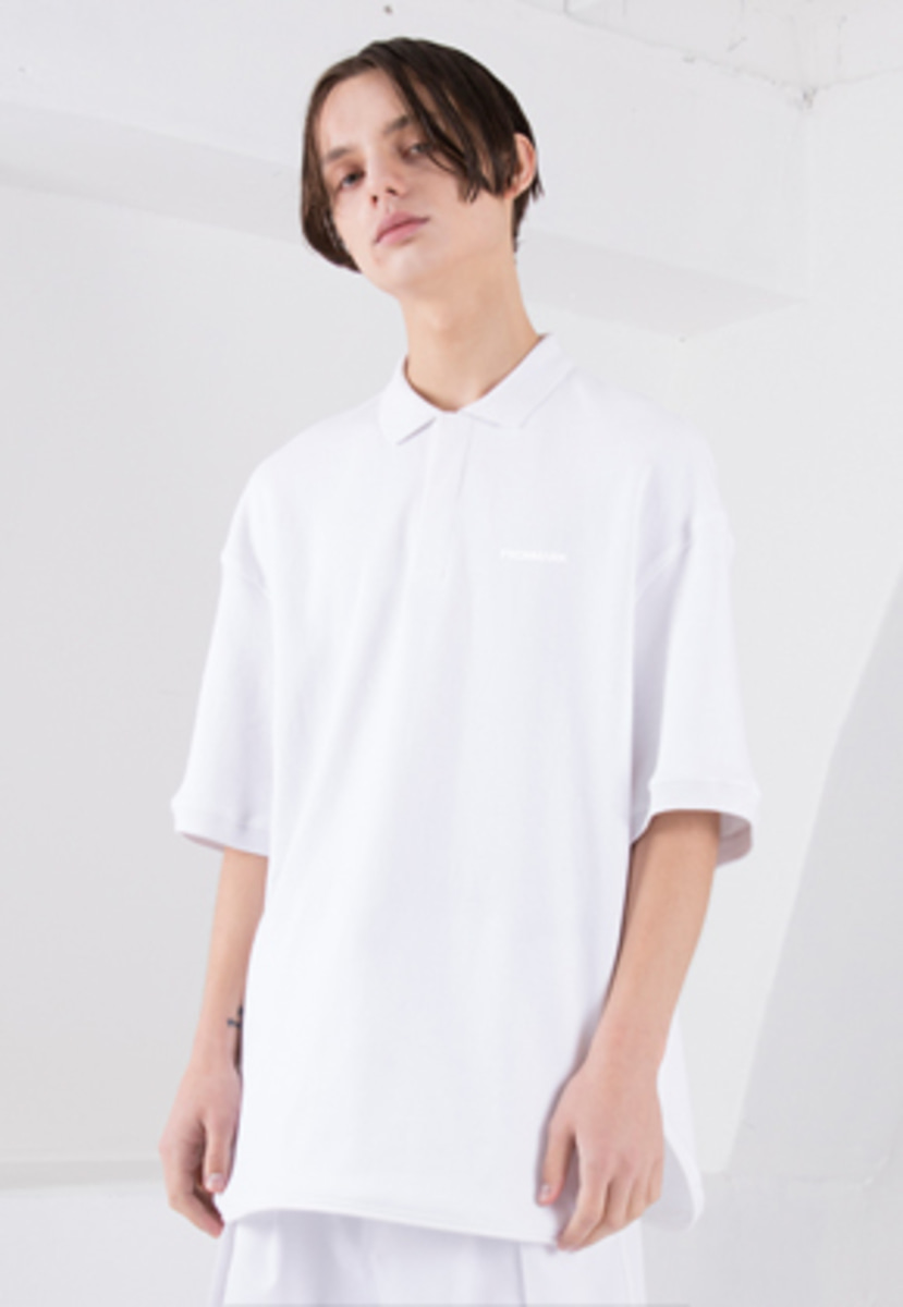FROMMARK프롬마크 OVERSIZED ZIP DETAIL POLO SHIRT WHITE