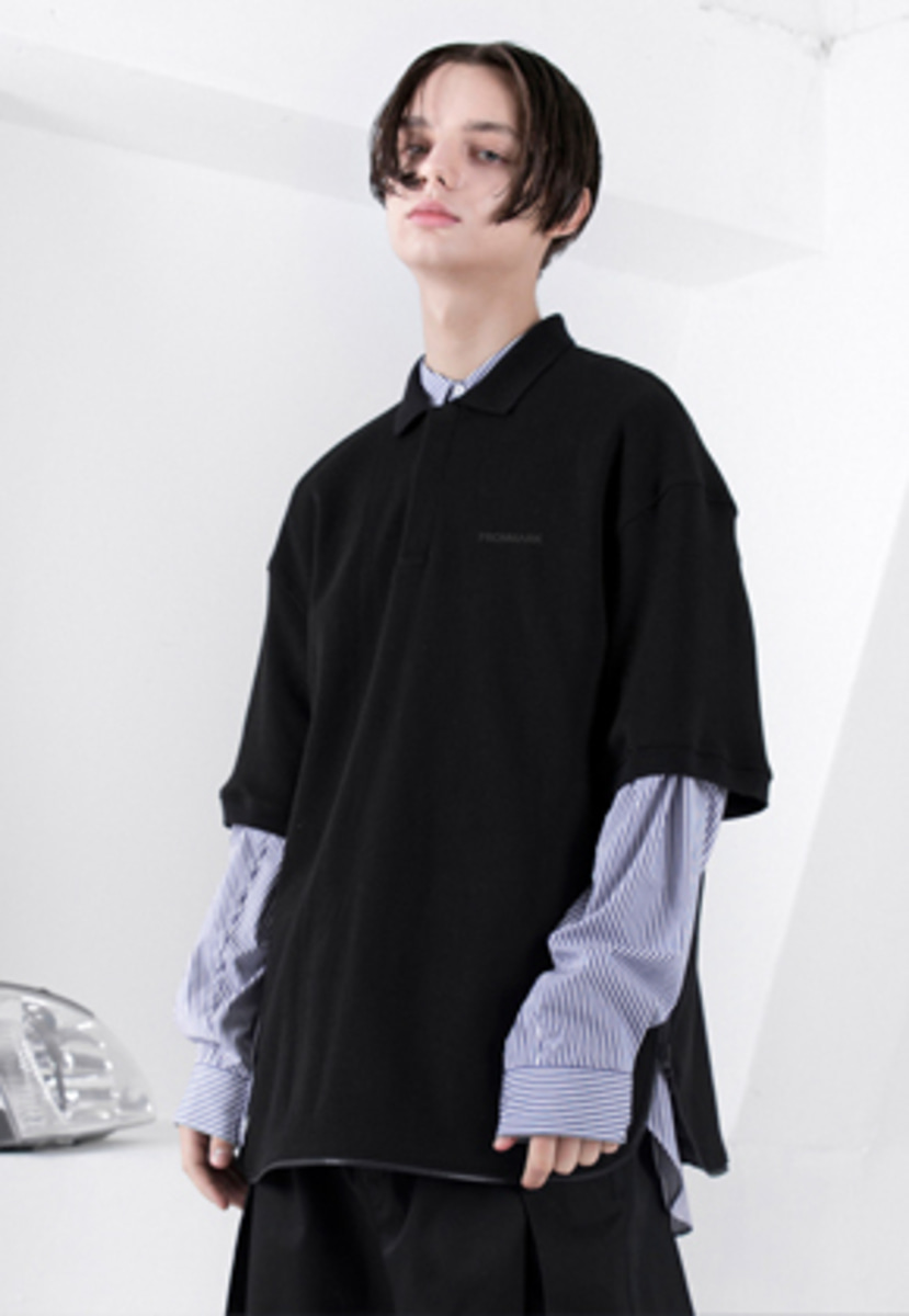 FROMMARK프롬마크 OVERSIZED ZIP DETAIL POLO SHIRT BLACK