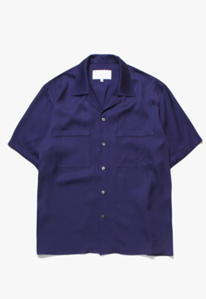 Gakuro가쿠로 Open Collar Shirt - Viscose (Purple)