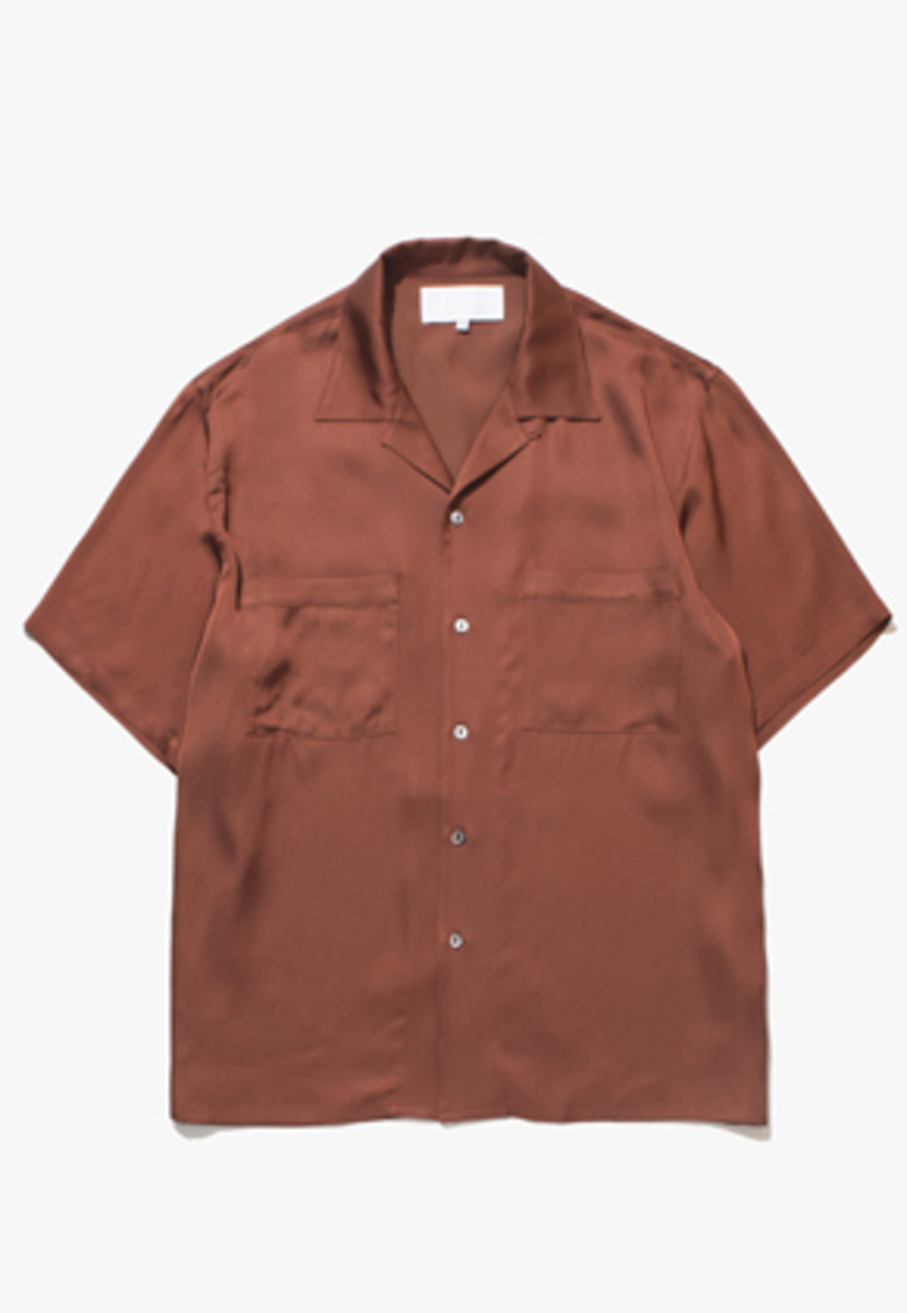 Gakuro가쿠로 Open Collar Shirt - Viscose (Scarlet)