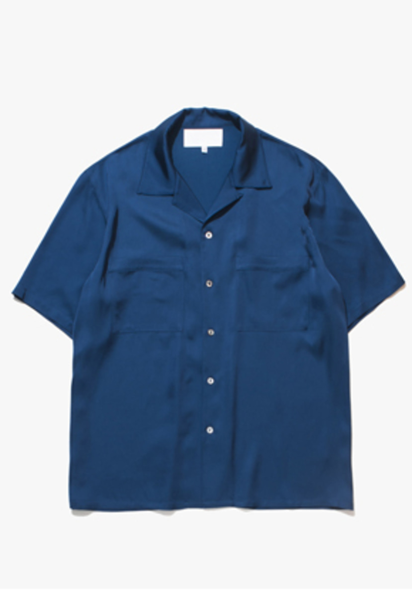 Gakuro가쿠로 Open Collar Shirt - Viscose (Ocean)