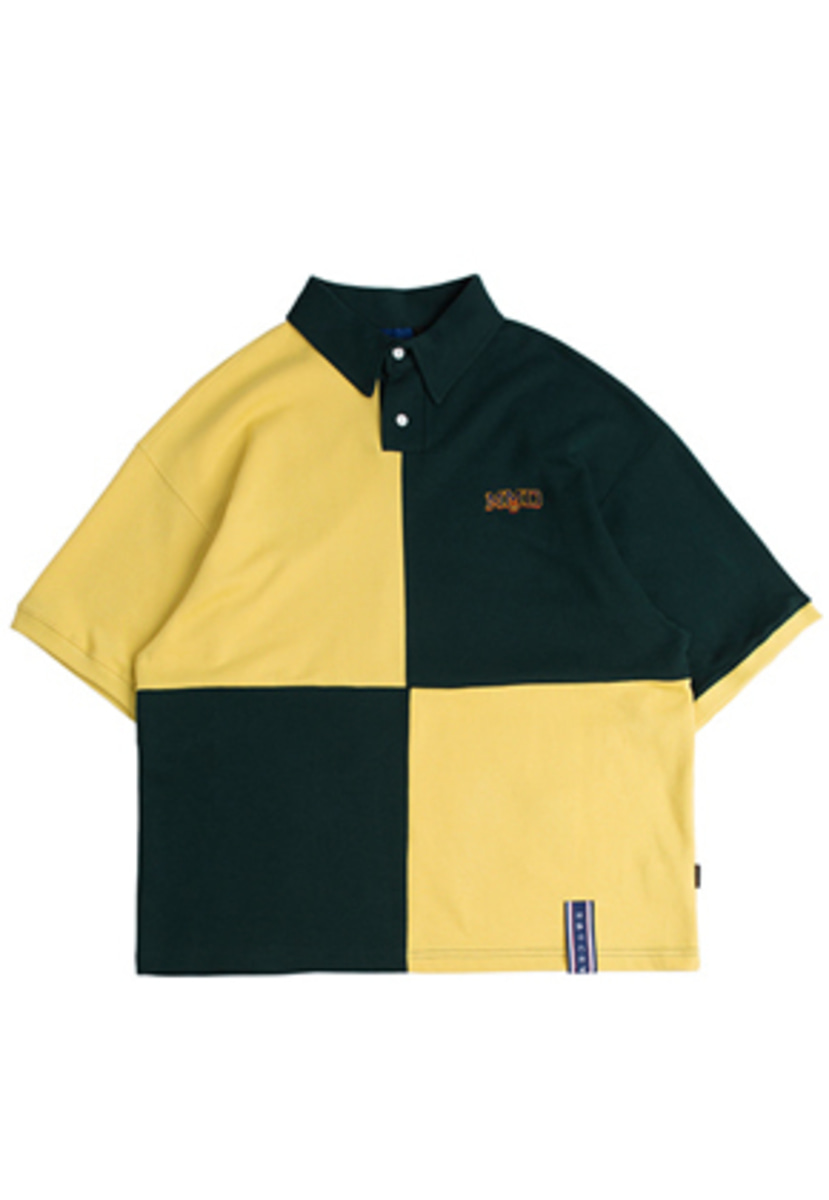 Romantic Crown로맨틱크라운 Quarter Block Half Polo_Green