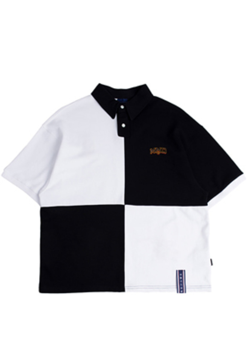 Romantic Crown로맨틱크라운 Quarter Block Half Polo_White