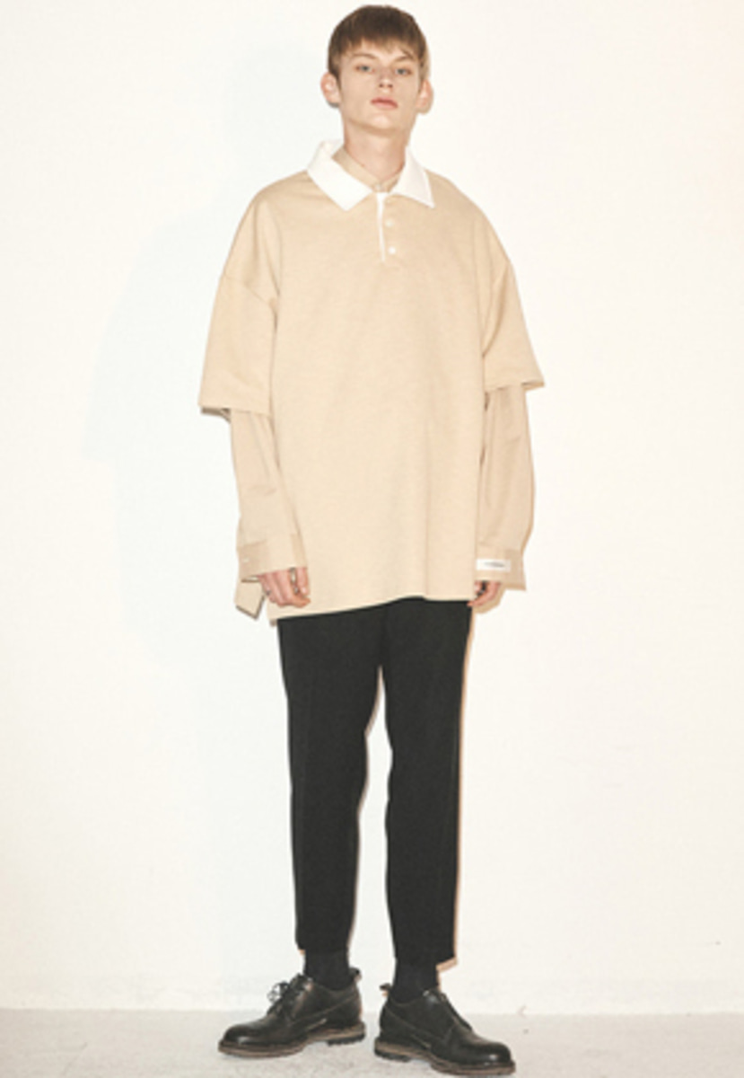 Haleine알렌느 BEIGE collar point oversized PKshirts(FT018)