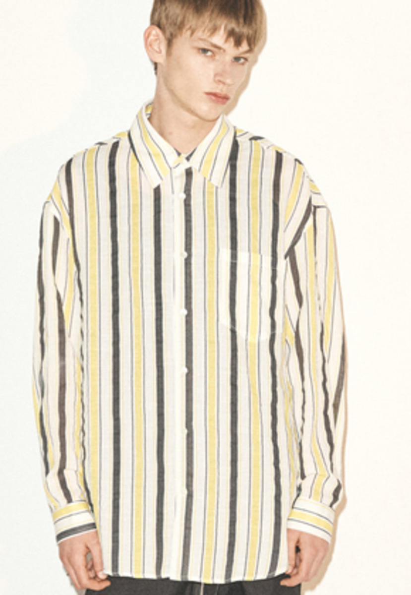 Haleine알렌느 YELLOW multi mix stripe linen touch shirts(FT014)