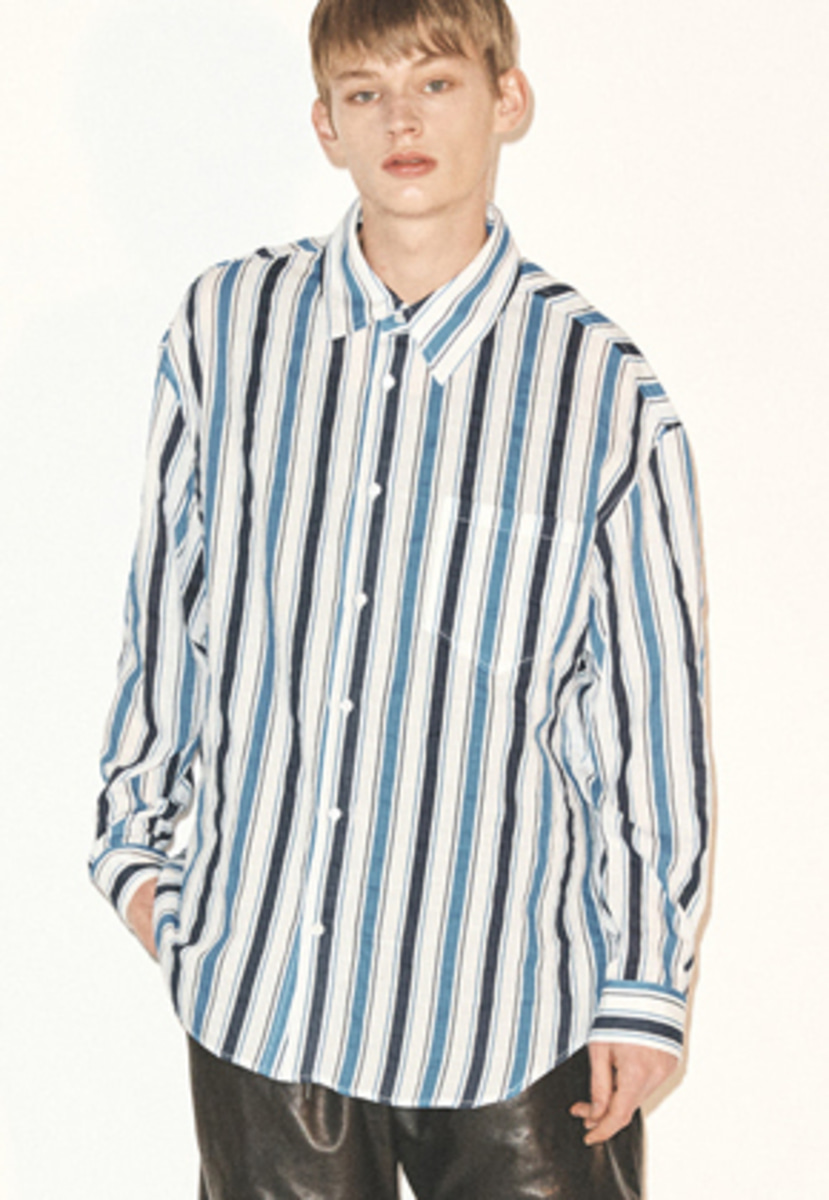 Haleine알렌느 BLUE multi mix stripe linen touch shirts(FT013)