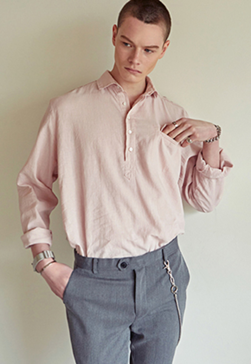 Yan13얀써틴 WASHED HENLEY NECK SHIRTS_PINK