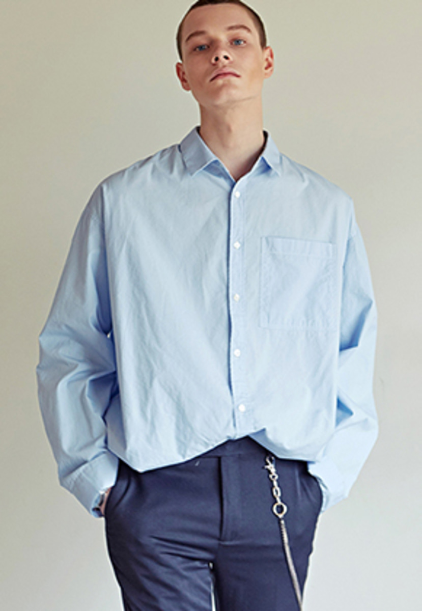 Yan13얀써틴 OVER-FIT STRIPE SHIRTS_BLUE