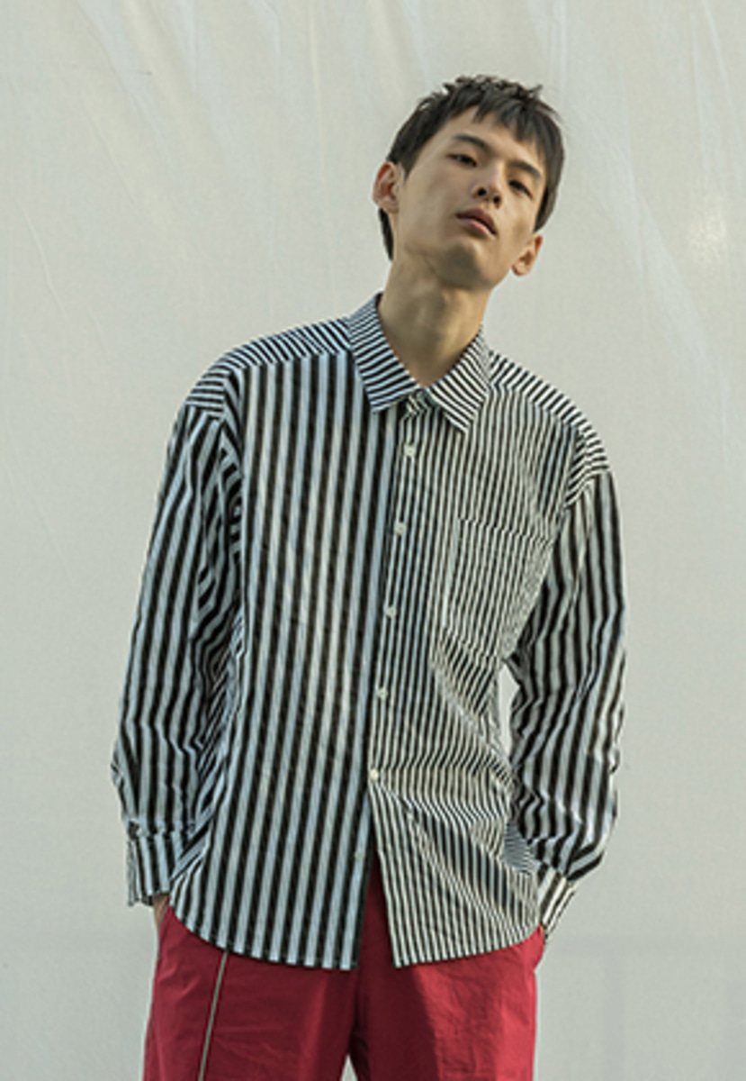 XYZ UNISEX MIXED STRIPED SHIRTS -BLACK STRIPE