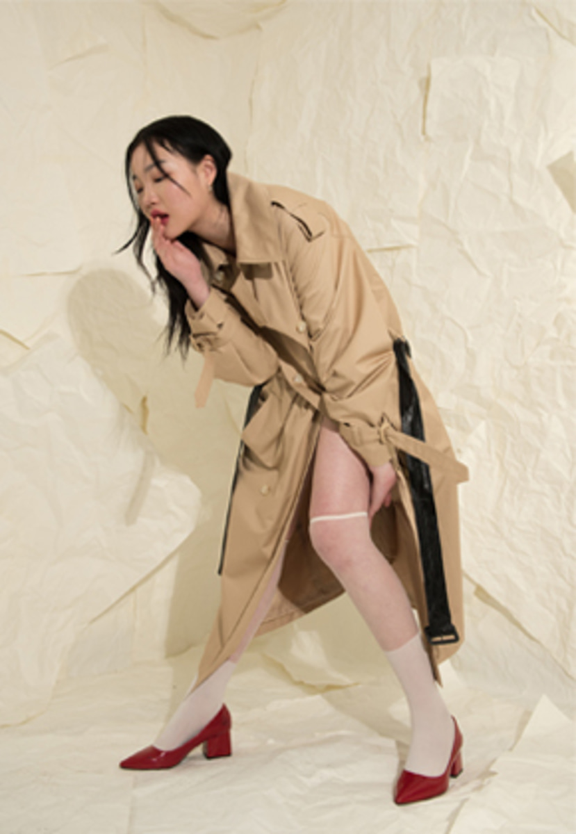 XYZ UNISEX OVERSIZED TRENCH COAT - BEIGE
