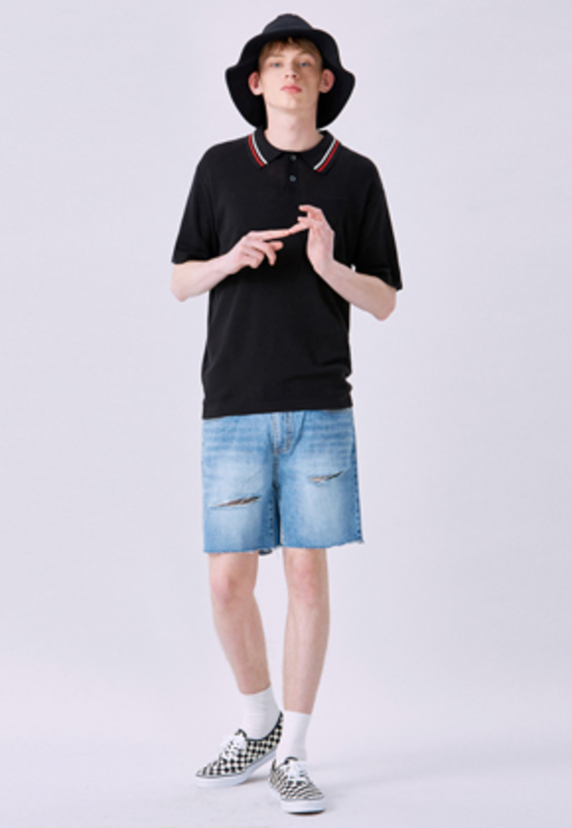 Voiebit브아빗 V237 LINE CUTTING DENIM HALF-PANTS  LIGHT BLUE
