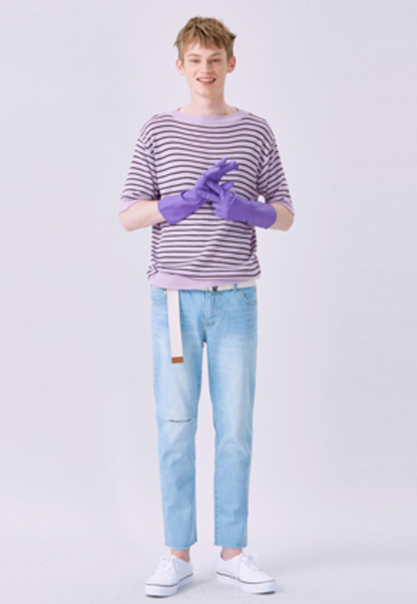Voiebit브아빗 V234 DESTROYED CUTTING DENIM PANTS  LIGHT BLUE