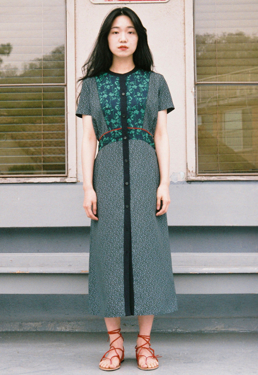 Ampersand앰퍼샌드 BUTTON UP MAXI DRESS - GREEN