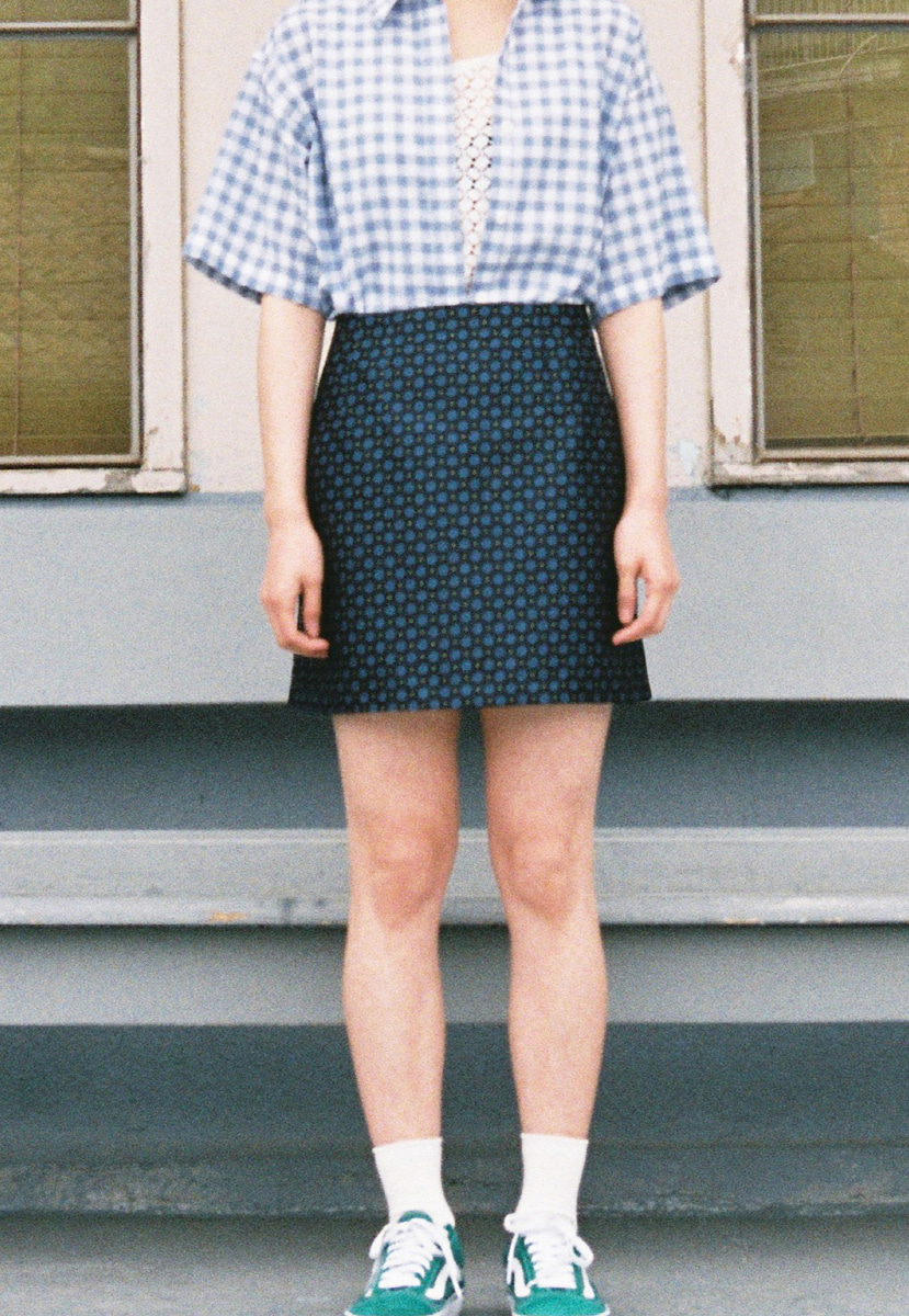 Ampersand앰퍼샌드 JACQUARD SHORT SKIRT - NAVY
